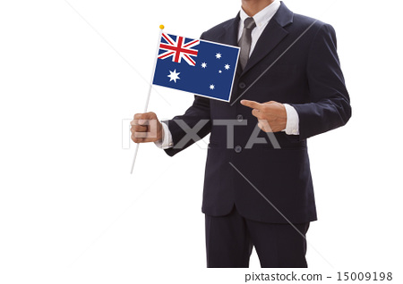 Businessman in suit holding of the Australia Flag  15009198