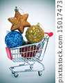 christmas ornaments in a shopping cart 15017473