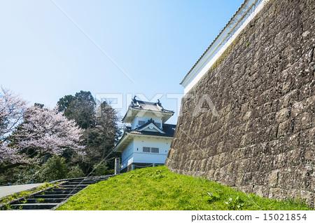 Sakura and Sendai Castle (Corner Oval) 15021854