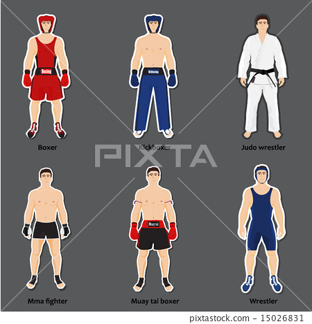 Stock Illustration: Set of different fighters in sports equipment