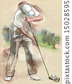 Golf Player An hand drawn and painted illustration 15028595