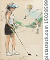 Golf Player An hand drawn and painted illustration 15028599