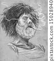 Smoking Bearded smoker Hand drawn illustration 15028940