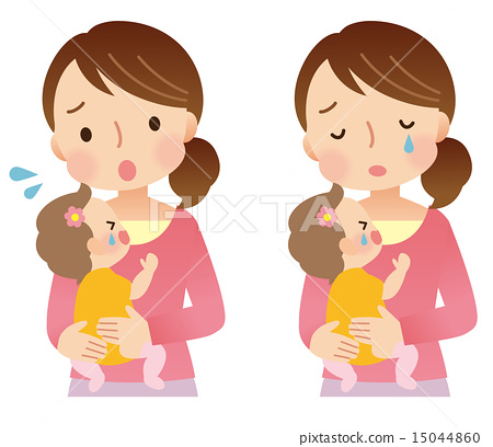 Baby and mother crying - Stock Illustration [15044860] - PIXTA