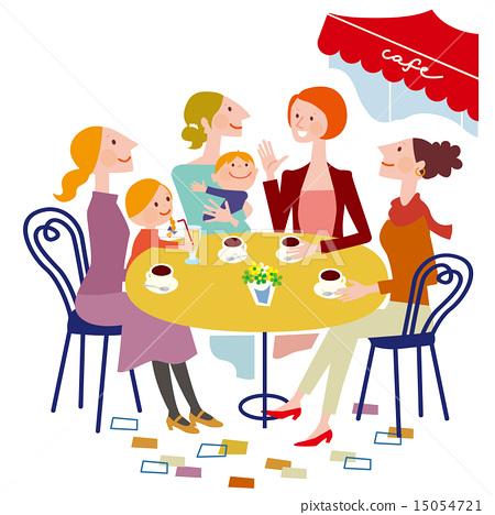 카페에서 수다 떠는 여성들 15054721