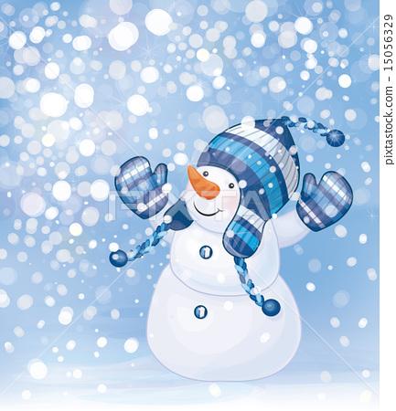 Vector Snowman Cartoon On Snowfall Background Stock Illustration 15056329 Pixta