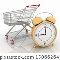 Shopping cart with clock in white background 15066264