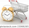 Shopping cart with clock in white background 15066265