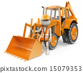 3D white people. Worker with a backhoe. Digger 15079353