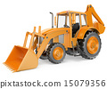 3D Backhoe loader. Digger 15079356