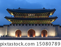 Gwanghwamun Gate in Seoul, South Korea at Twilight 15080789