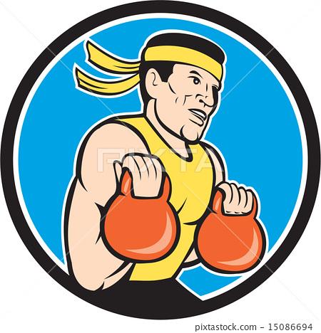 Strongman Lifting Kettlebell Circle Cartoon 15086694