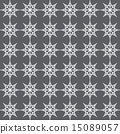 Silver Double Star and Circle Seamless Pattern 15089057