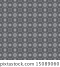Silver Retro Flower Circle Square Seamless Pattern 15089060