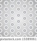 Silver Retro Flower Seamless Pattern on Pastel 15089061