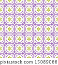 Violet Circle Flower Seamless Pattern on Pastel 15089066