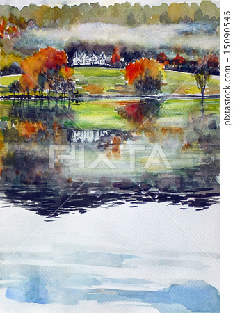 Sketch of Grasmere Lake in the Lake District, England 15090546