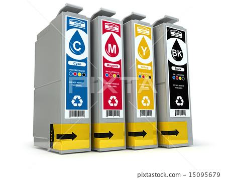 Inkjet CMYK printer cartridges isolated on white 15095679