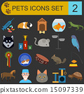 Domestic pets and vet healthcare flat icons set 15097339
