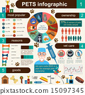 Domestic pets infographic elements, helthcare, vet 15097345