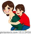 Son And Mom Piggyback Ride 15113458