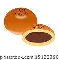 anpan, bread, cross-section 15122390