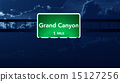 Grand Canyon USA Highway Road Sign at Night 15127256