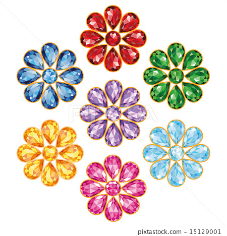 Seven Precious Flower Isolated Objects 15129001