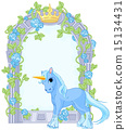 Unicorn close to flower frame 15134431