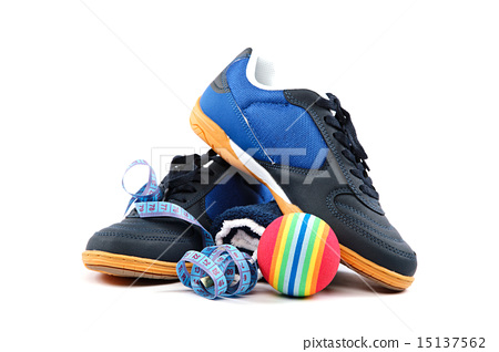 Sport shoes, equipment and measuring tape. 15137562