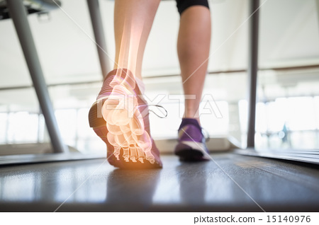 Stock Photo: Highlighted foot bones of jogging woman