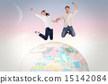 Composite image of couple jumping and holding hands 15142084