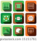 Soccer, American football and basket ball icon set 15151761