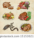 Food - An hand drawn colored illustrations 15153021