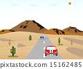 사막의 도로와 자동차 15162485