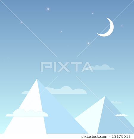 Mountains in the night sky in a simple light design. Mountain peaks with the clouds, bright stars 15179012
