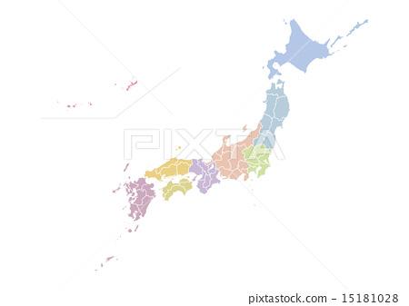 日本地图 都道府县 全国 15181028