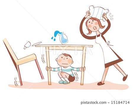 Earthquake, evacuating parent and child 15184714