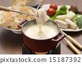奶酪火鍋 鍋裡煮好的食物 用鍋烹飪 15187392