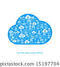 Hosting, network and cloud service icons 15197704