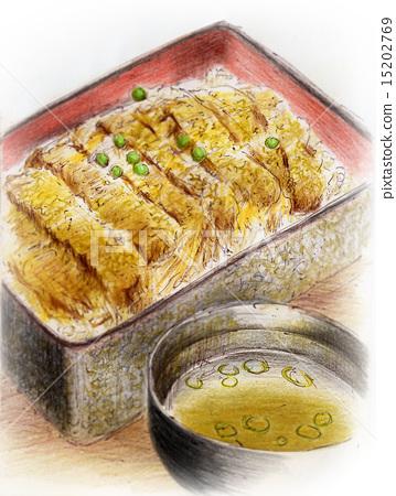 Food illustration - Katsu-rice bowl 15202769