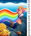 美人鱼 珊瑚 岩石 15220438