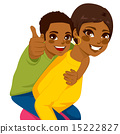 African American Mother Son Piggyback 15222827