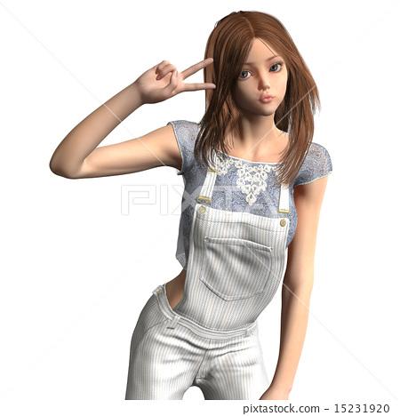 Overalls female posing posing 3DCG illustration material 15231920