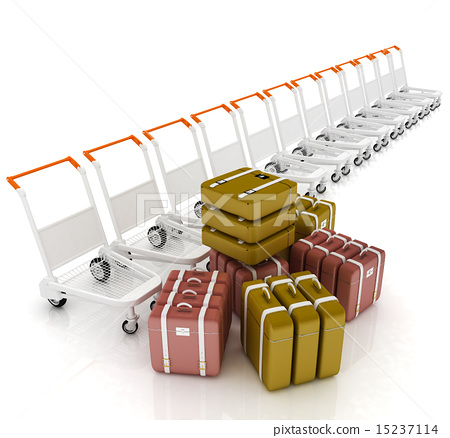 Trolleys for luggages at the airport and luggages 15237114