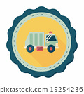Transportation Garbage truck flat icon with long shadow,eps10 15254236