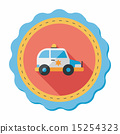 Transportation police car flat icon with long shadow,eps10 15254323