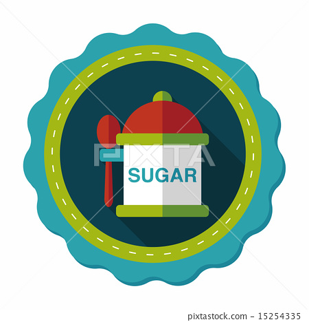 kitchenware sugar flat icon with long shadow,eps10 15254335