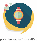 Wristwatch flat icon with long shadow 15255058