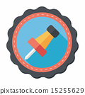 push pin flat icon with long shadow,eps10 15255629